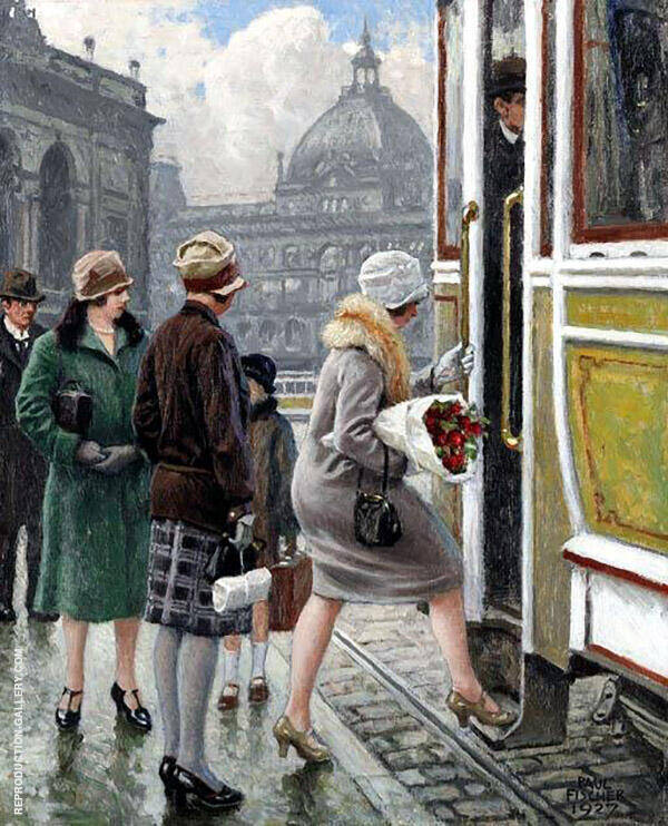 Tram Stop Painting By Paul Gustav Fischer - Reproduction Gallery