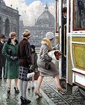 Tram Stop By Paul Gustav Fischer