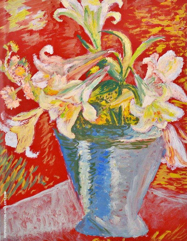Lilies on Red Background By Sigrid Hjerten
