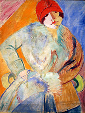 Woman with Muff and Red Hat By Sigrid Hjerten