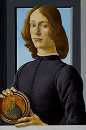 Portrait of a Young Man holding a Roundel By Sandro Botticelli