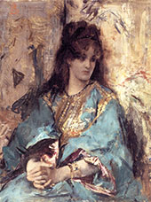 A Woman Seated in Oriental Dress By Alfred Stevens
