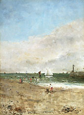 Figures on The Beach 1800 detail By Alfred Stevens