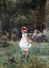 Little Girl with Ducks By Alfred Stevens