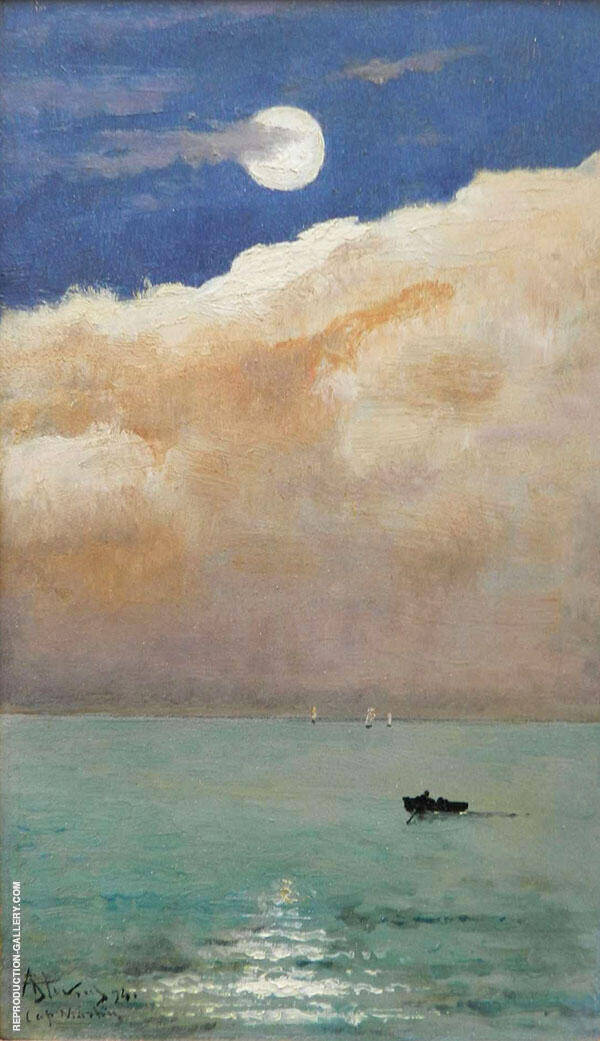 Moonlit Seascape at Cap Martin 1892 By Alfred Stevens
