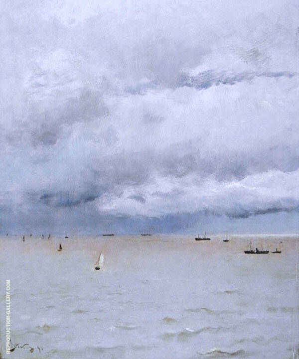 Seascape Honfleur By Alfred Stevens