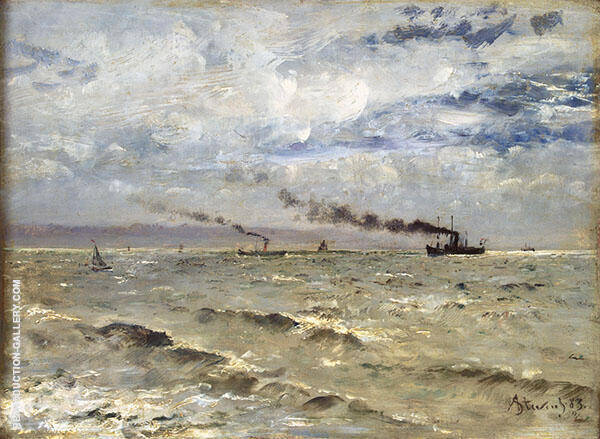 Seascape with Ships 1883 By Alfred Stevens