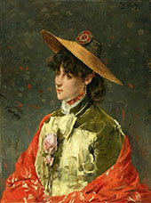 Woman In A Straw Hat By Alfred Stevens