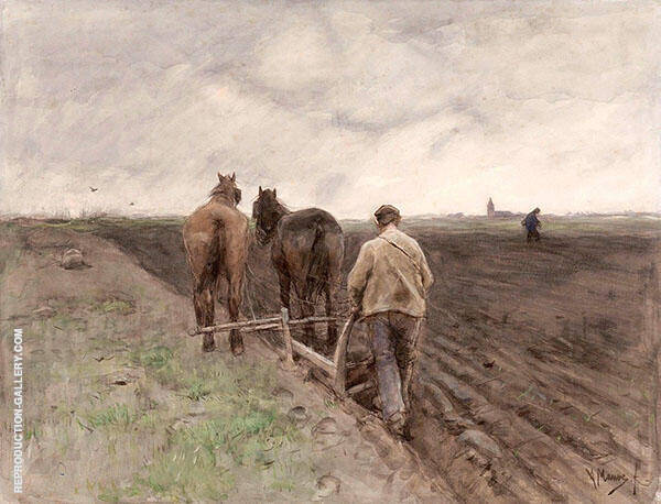 Plowing Farmer c1848 By Anton Mauve