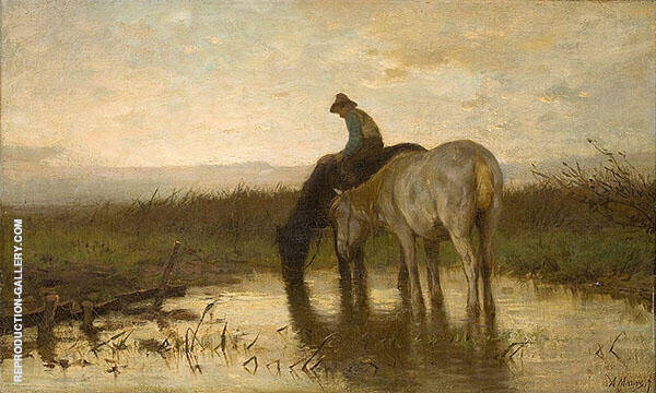 Drinking Horses by Anton Mauve   Oil Painting Reproduction Replica On Canvas - Reproduction Gallery
