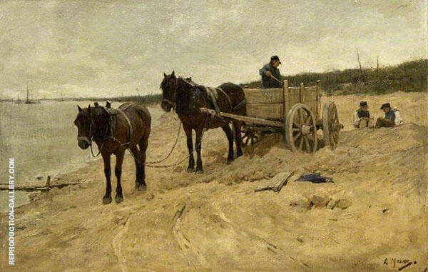 Sand Carting by Anton Mauve   Oil Painting Reproduction Replica On Canvas - Reproduction Gallery