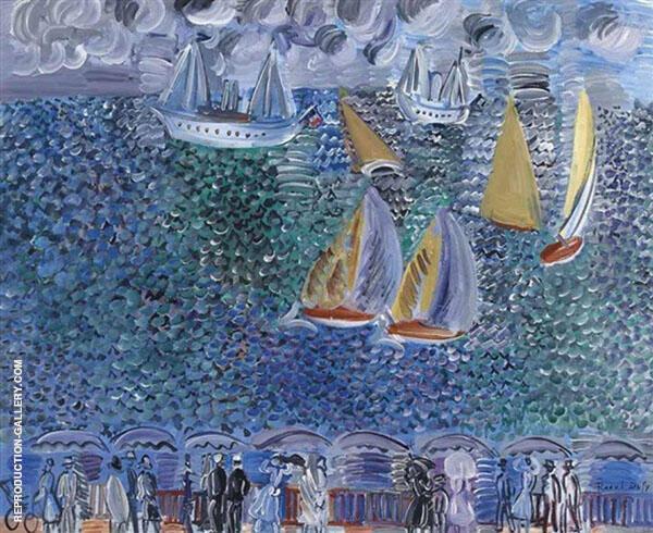 La Promenade au Bord de la Mer c1924 Painting By Raoul Dufy