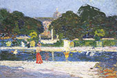 Fountain in The Garden at Luxembourg By Henri Jean Guillaume Martin