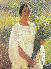 Girl with Flowers By Henri Jean Guillaume Martin