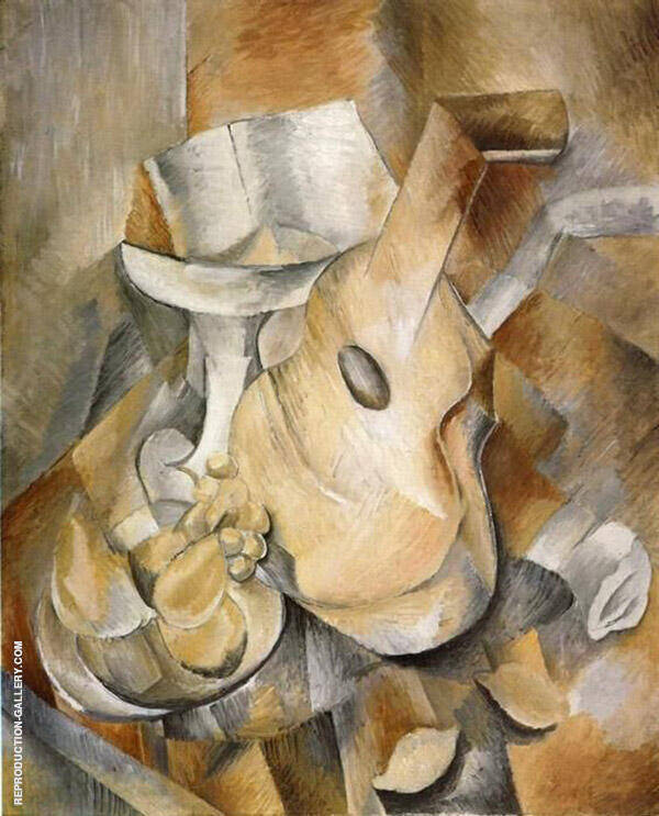 Guitar and Fruit Dish Painting By Georges Braque - Reproduction Gallery