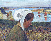 Jeune Bretonne au Bord de la mer By Henri Jean Guillaume Martin