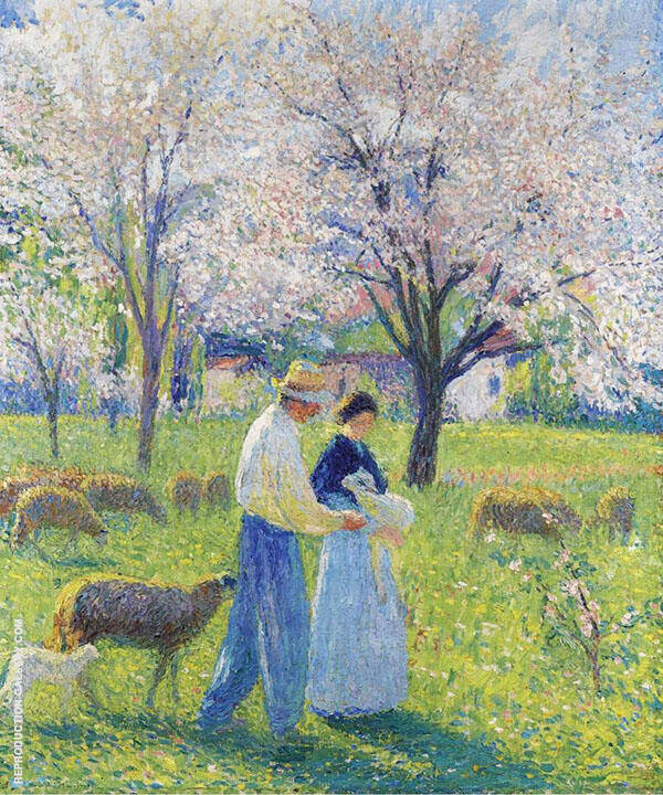 Lovers at Spring By Henri Jean Guillaume Martin