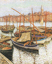 Sailboats in The Port By Henri Jean Guillaume Martin