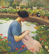 Sewing in The Garden at Marquayrol By Henri Jean Guillaume Martin