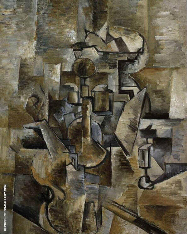 The Candlestick Painting By Georges Braque - Reproduction Gallery
