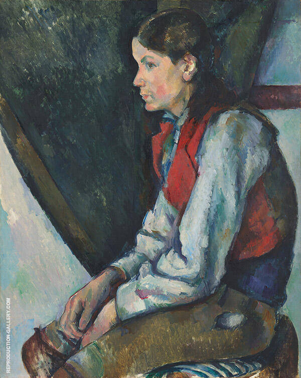 Boy in Red Vest c1888-1890 Painting By Paul Cezanne - Reproduction Gallery