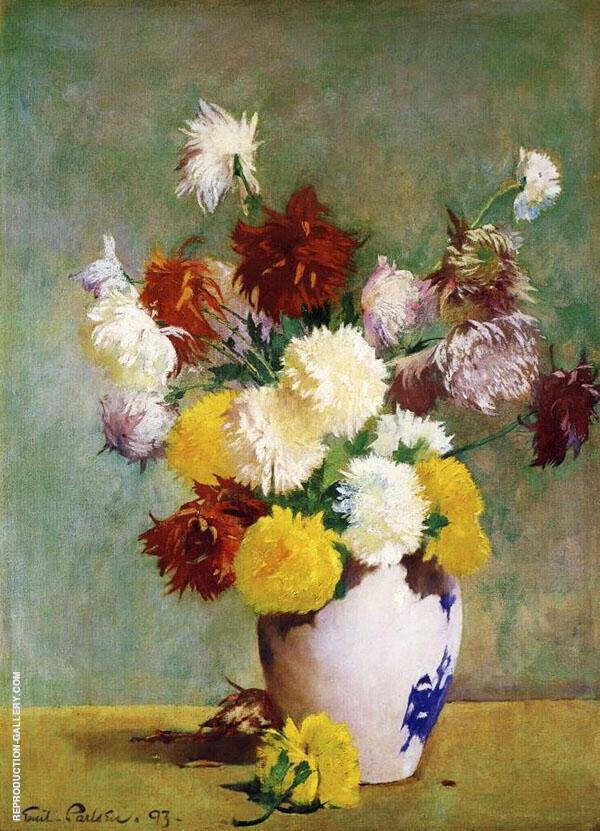 Still Life of Chrysanthemums in a Canton Vase By Emil Carlsen
