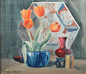 Still Life with Asian Charger and Tulips By Emil Carlsen
