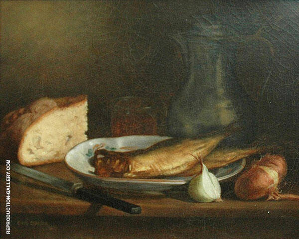 Still Life with Fish Bread and Onions 1885 By Emil Carlsen