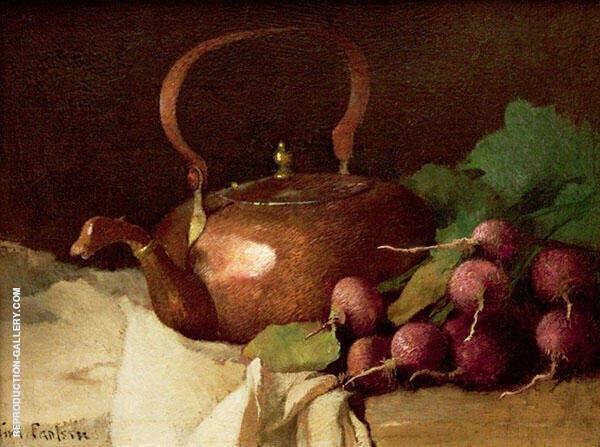 Still Life with Tea Kettle and Radishes 1915 By Emil Carlsen