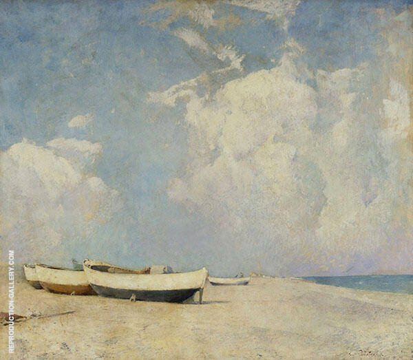 Summer Clouds Boats on The Sand 1913 By Emil Carlsen