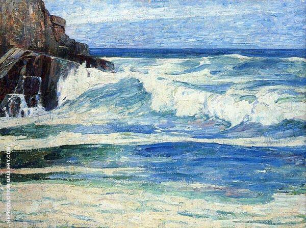 Surf Breaking on Rocks c1912 By Emil Carlsen