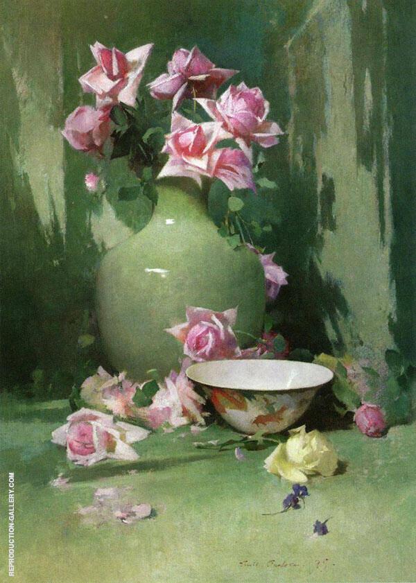 Vase of Roses By Emil Carlsen