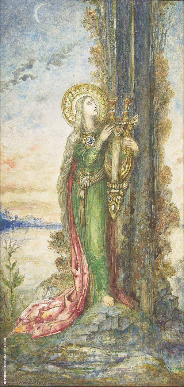 Saint Cecilia by Gustave Moreau | Oil Painting Reproduction Replica On Canvas - Reproduction Gallery