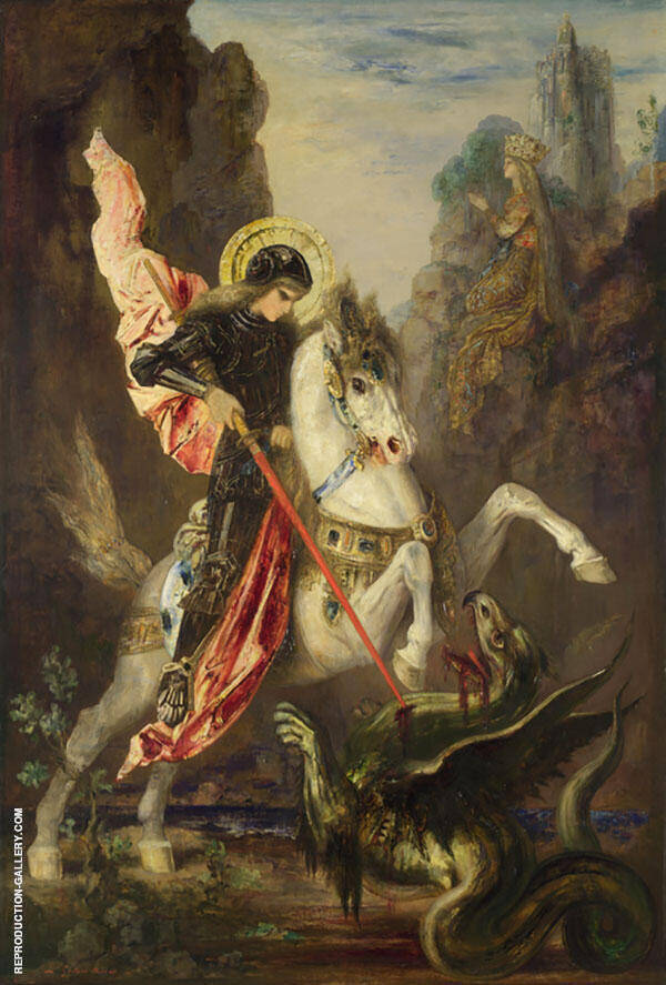 Saint George and The Dragon by Gustave Moreau   Oil Painting Reproduction Replica On Canvas - Reproduction Gallery