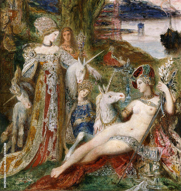 The Unicorns 1885 by Gustave Moreau   Oil Painting Reproduction Replica On Canvas - Reproduction Gallery
