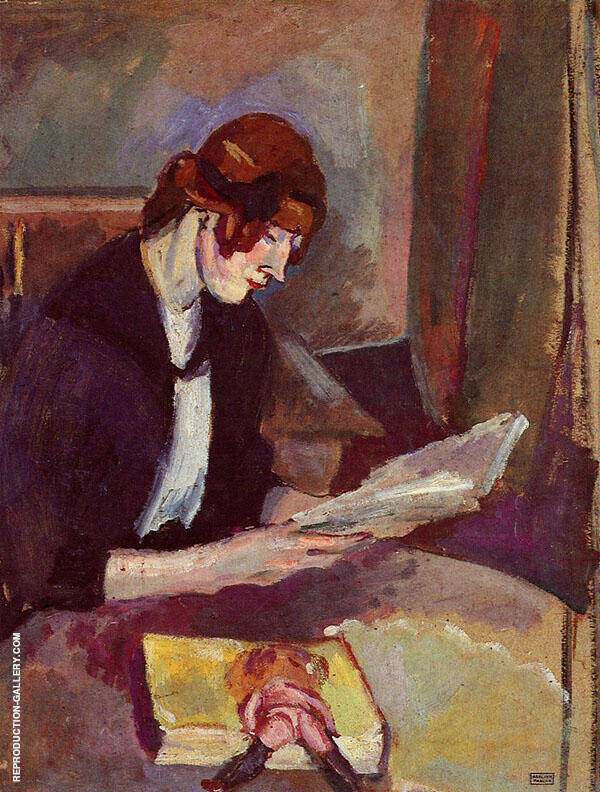 Hermine David Reading 1908 By Jules Pascin
