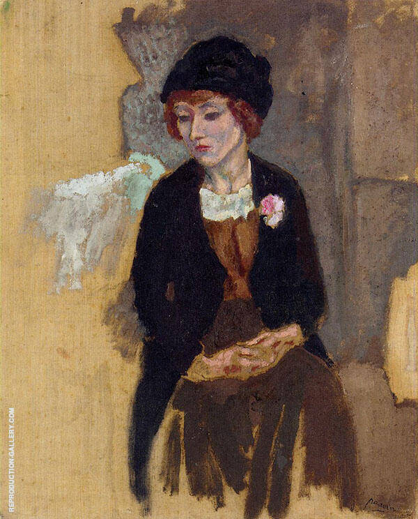 Hermine in a Black Hat 1909 Painting By Jules Pascin