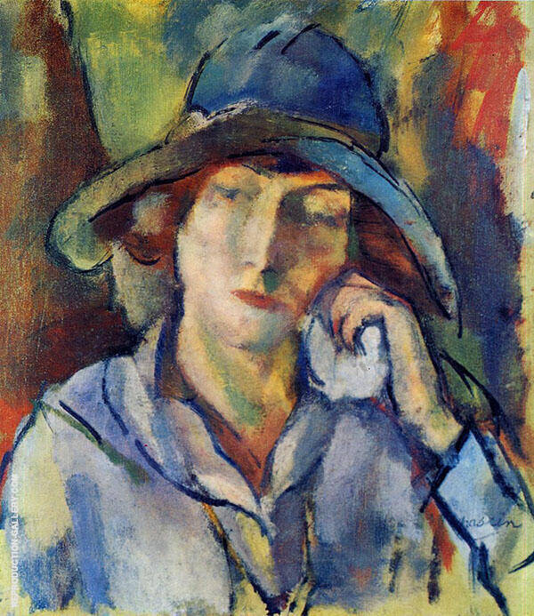 Hermine in a Blue Hat 1918 Painting By Jules Pascin - Reproduction Gallery