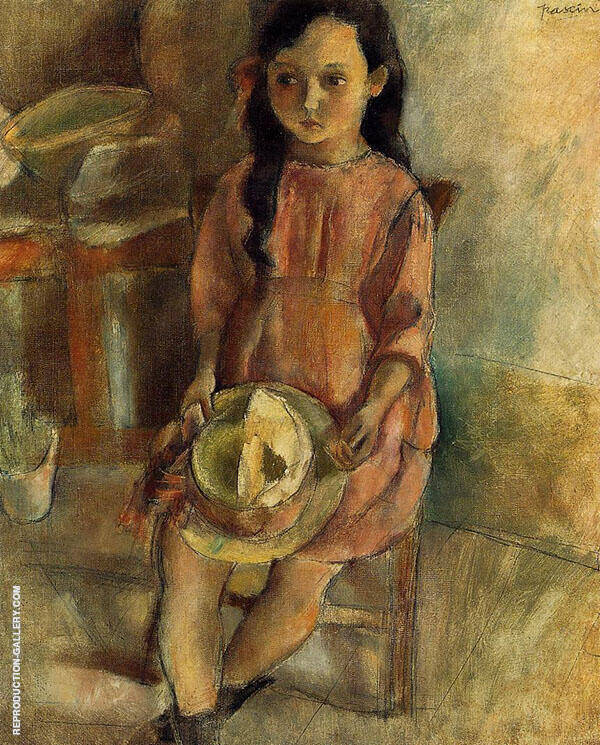 Little Girl with a Hat 1924 Painting By Jules Pascin