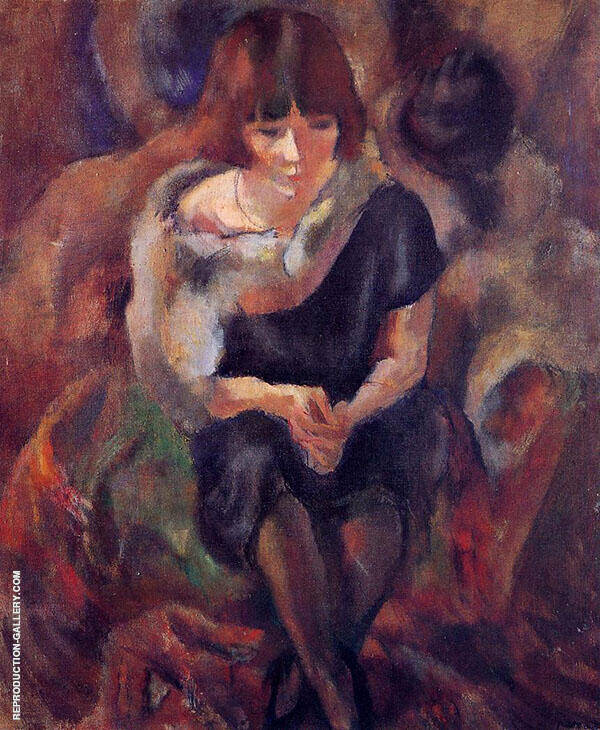 Lucy Wearing a Fake Fur 1920 Painting By Jules Pascin