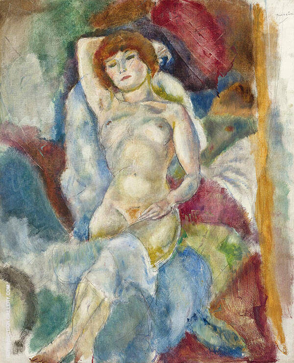Nude Arm Raised Painting By Jules Pascin - Reproduction Gallery