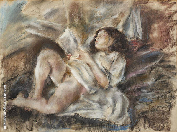 Nude Reading Painting By Jules Pascin - Reproduction Gallery