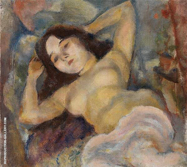 Nude with Arms Raised Painting By Jules Pascin - Reproduction Gallery