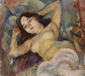 Nude with Arms Raised By Jules Pascin