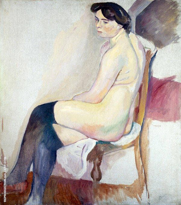 Nude with Black Stockings Painting By Jules Pascin - Reproduction Gallery