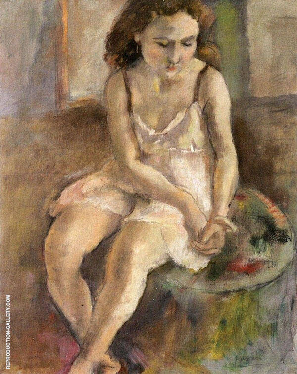 Pensive Girl Painting By Jules Pascin - Reproduction Gallery