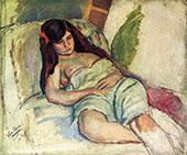 Reclining Woman By Jules Pascin