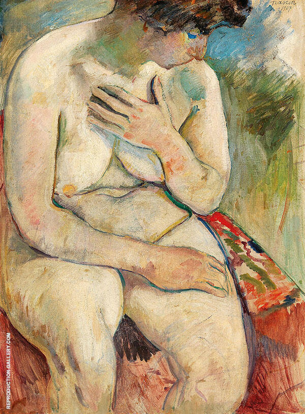 Seating Nude Painting By Jules Pascin - Reproduction Gallery