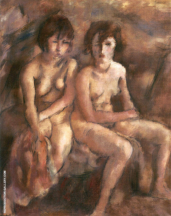 Two Young Swiss Women Painting By Jules Pascin - Reproduction Gallery