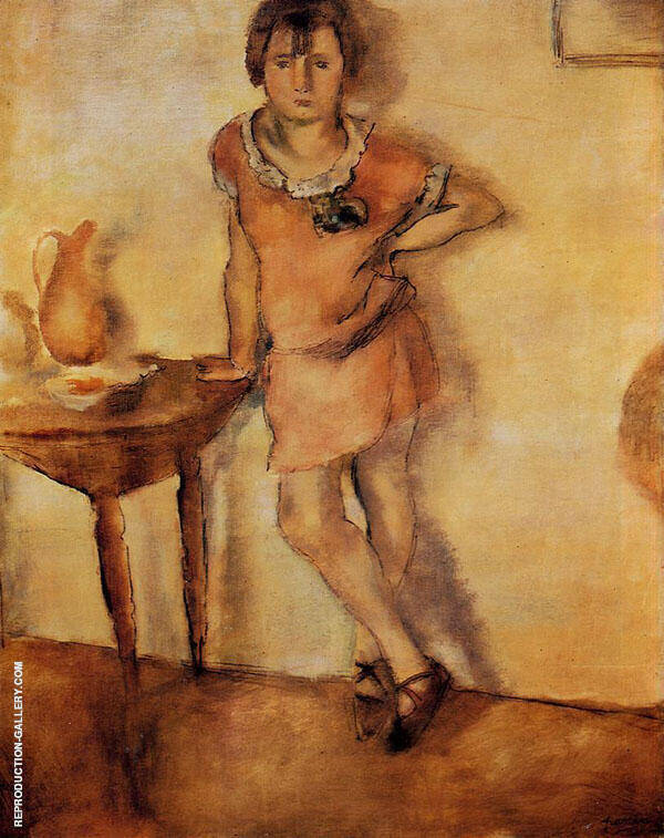 Young Girl in a Dress Painting By Jules Pascin - Reproduction Gallery